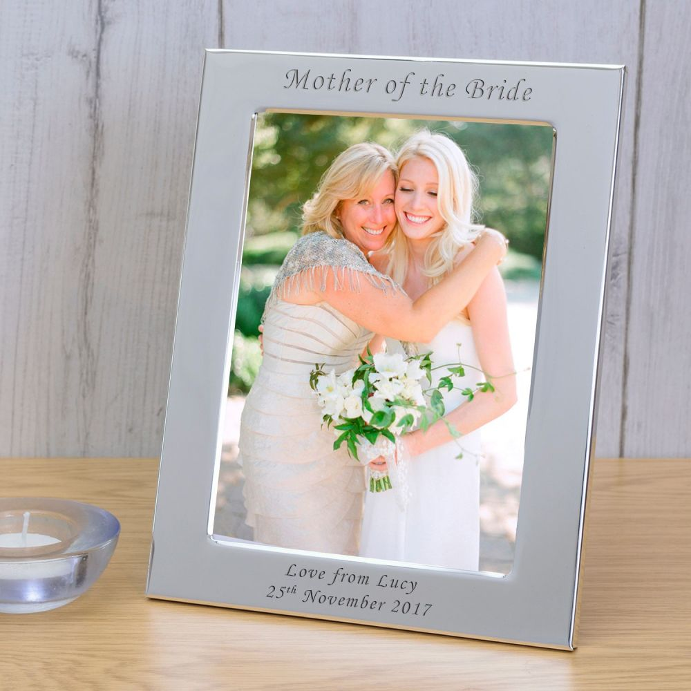 personalised 6x4 mother of the bride silver plated frame wedding
