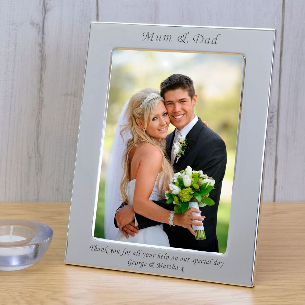 Personalised 6x4 MUM & DAD Silver Plated Frame