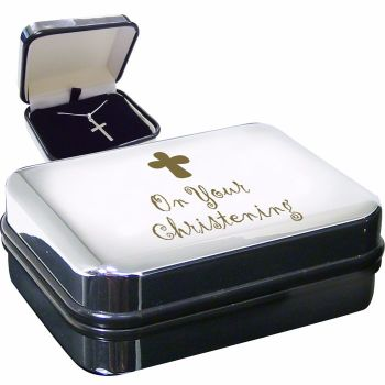 Christening Sterling Silver Cross Necklace in Presentation Box