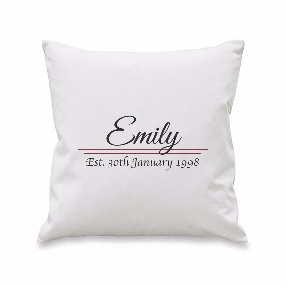 Personalised NAME ESTABLISHED Cushion Cover