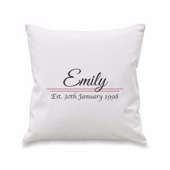 Personalised NAME ESTABLISHED Cushion Cover