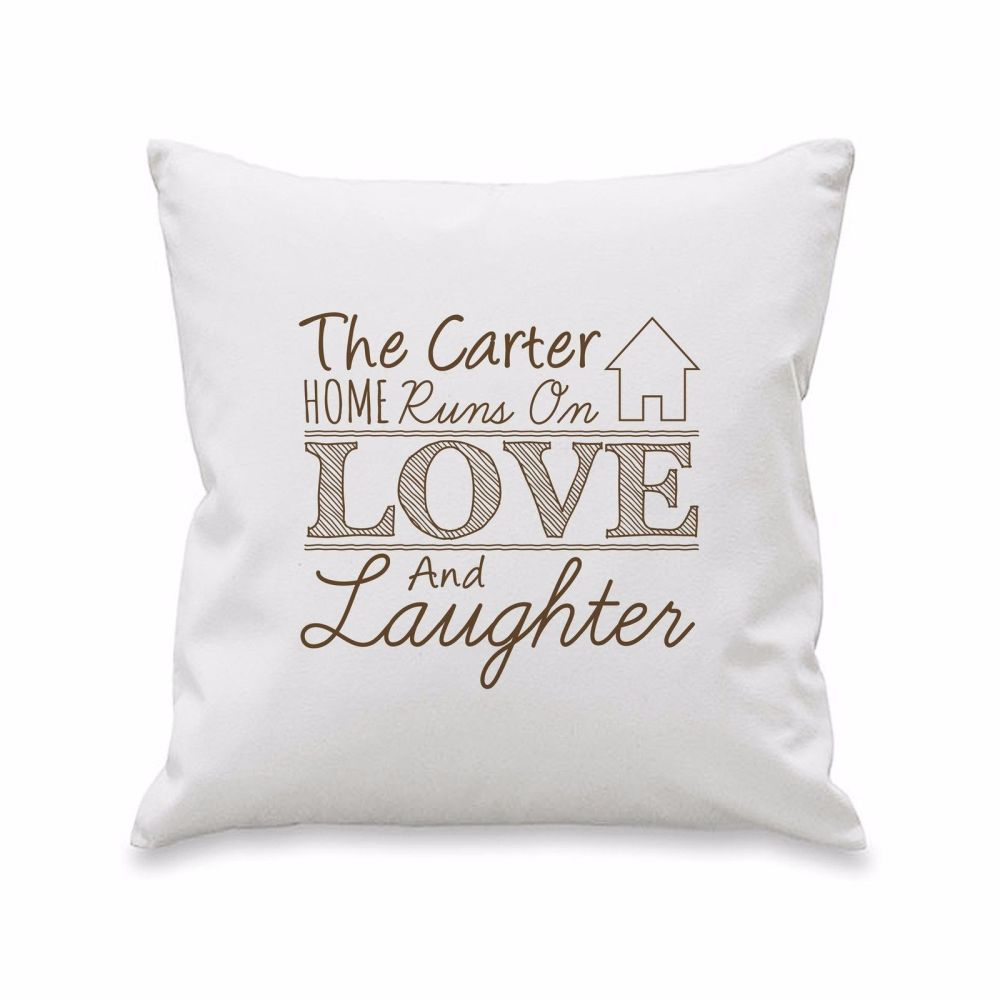 Personalised LOVE & LAUGHTER Cushion Cover