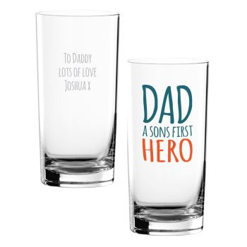 Personalised DAD A SONS FIRST HERO Hi-Ball Glass