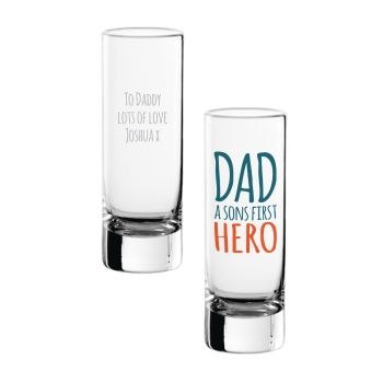 Personalised DAD A SONS FIRST HERO Shot Glass