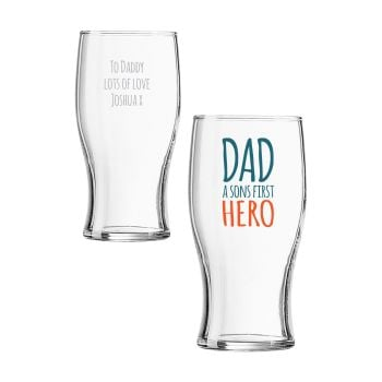 Personalised DAD A SONS FIRST HERO Pint Glass