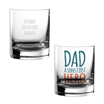 Personalised DAD A SONS FIRST HERO Tumbler Glass