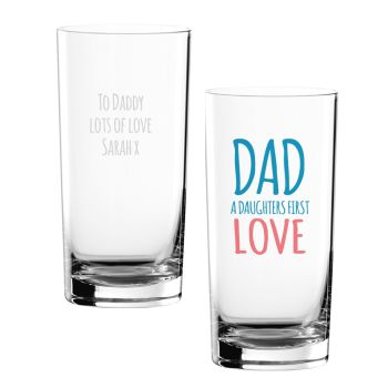 Personalised DAD A DAUGHTERS FIRST HERO Hi-Ball Glass