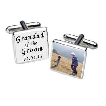 Personalised GRANDAD OF GROOM Cufflinks Black or White