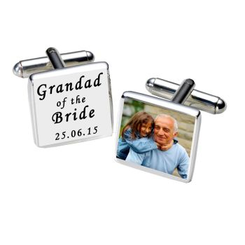 Personalised GRANDAD OF BRIDE Cufflinks Black or White