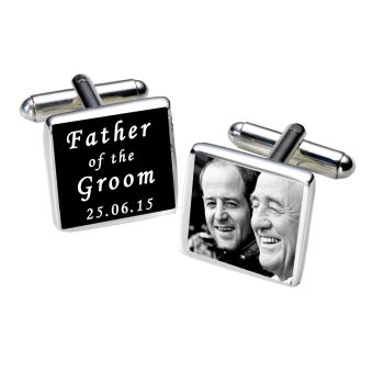 Personalised FATHER OF GROOM Cufflinks Black or White