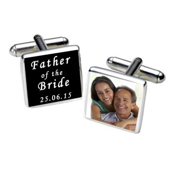 Personalised FATHER OF BRIDE Cufflinks Black or White