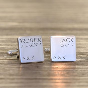 Personalised BROTHER OF GROOM Cufflinks