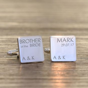 Personalised BROTHER OF BRIDE Cufflinks