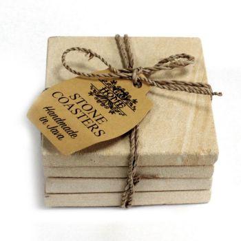 Set of 4 Hand Carved Sandstone Square COASTERS 9cm