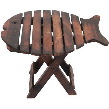 Wooden FOLDING FISH CHAIR - Dark Wood