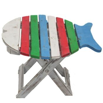 Wooden FOLDING FISH CHAIR - Multi Coloured