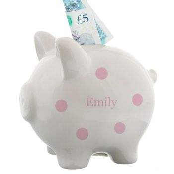 Personalised PINK SPOTTY PIGGY BANK