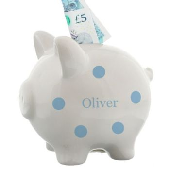 Personalised BLUE SPOTTY PIGGY BANK