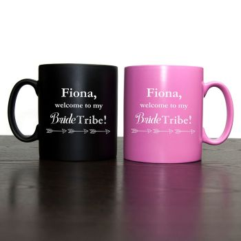 Welcome To The Bride Tribe Personalised Bridesmaid Proposal Mug Pink or Black