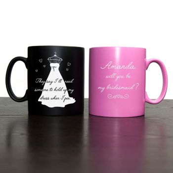Help me - Will You Be My Bridesmaid Mug Pink or Black