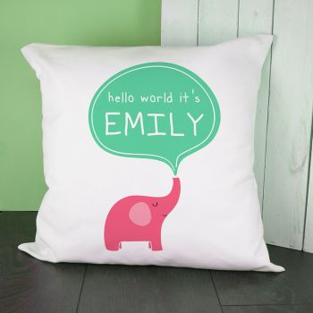Personalised Hello Baby Elephant Cushion Cover VARIOUS COLOURS