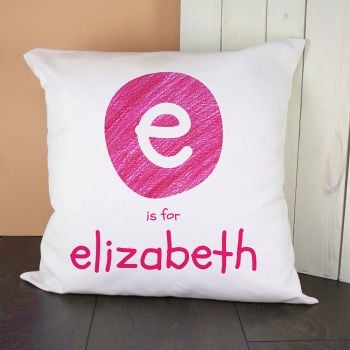 Personalised Pink Initial Cushion Cover