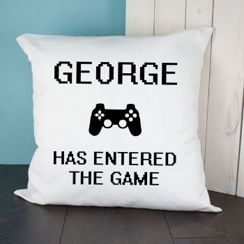 Personalised Baby Has Entered The Game Cushion Cover