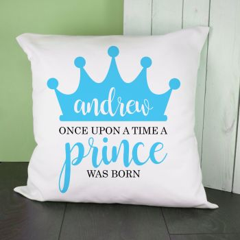 Personalised Once Upon A Time A Prince Was Born Cushion Cover
