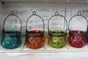 Recycled Moroccan Hanging Lanterns in Various Colours