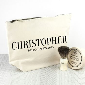 Personalised Men's Wash Bag in Cream