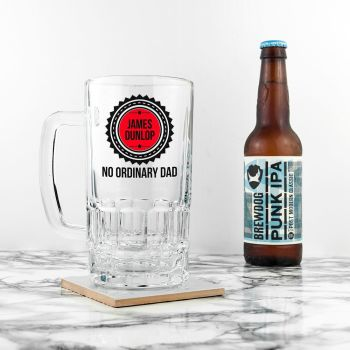 Personalised No Ordinary Dad Beer Glass Tankard