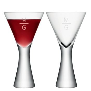 Personalised LSA Monogrammed Wine Glasses Set of 2 - Horizontal