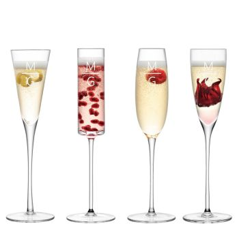 Personalised LSA Monogrammed Champagne Flutes - Assorted Set of 4 Glasses - Horizontal