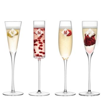 Personalised LSA Monogrammed Champagne Flutes - Assorted Set of 4 Glasses - Diamond
