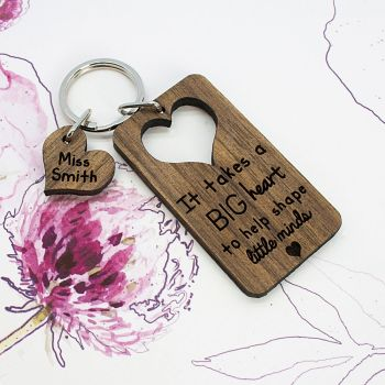 Personalised Teachers Keyring - It Takes A Big Heart To Shape Little Minds