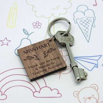 Personalised Thank You Keyring For Teaching Assistant
