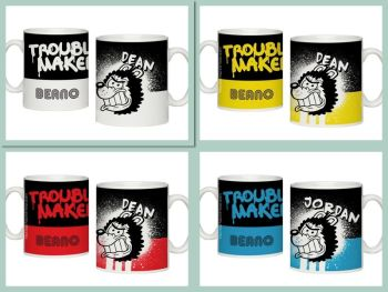 Personalised BEANO Big Heads GNASHER Mug TROUBLE MAKER