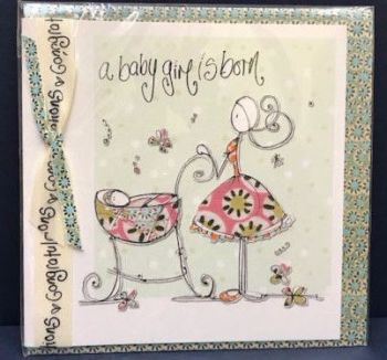 New Baby Girl Card - Birth Congratulations Card