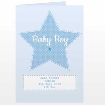 Personalised New Baby Boy Card - Birth Congratulations Card