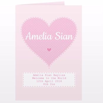 Personalised New Baby Girl Card - Birth Congratulations Card
