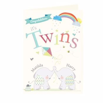 Personalised New Twins Card - Twins Birth Congratulations Card