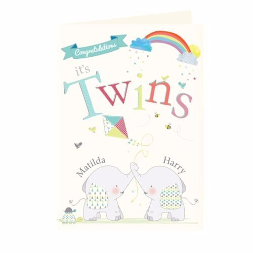 Twins Baby Card Twins Birth Congratulations Cards New Baby Girl