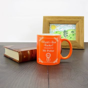 Personalised World's Best Teacher Award Matte Coloured Mug