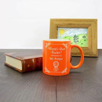 Personalised World's Best Teacher Award Matte Coloured Mug