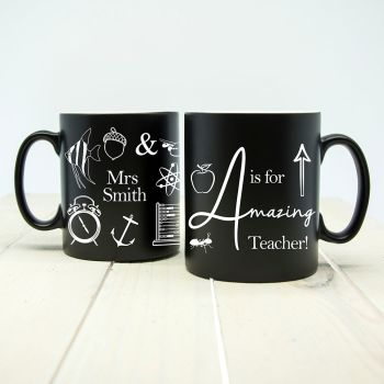 Personalised A is for Amazing Teacher Matte Coloured Mug