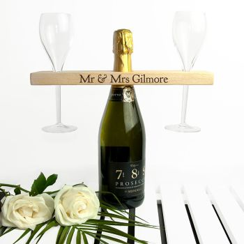 Personalised Welsh Ash Wooden Champagne/Wine Holder