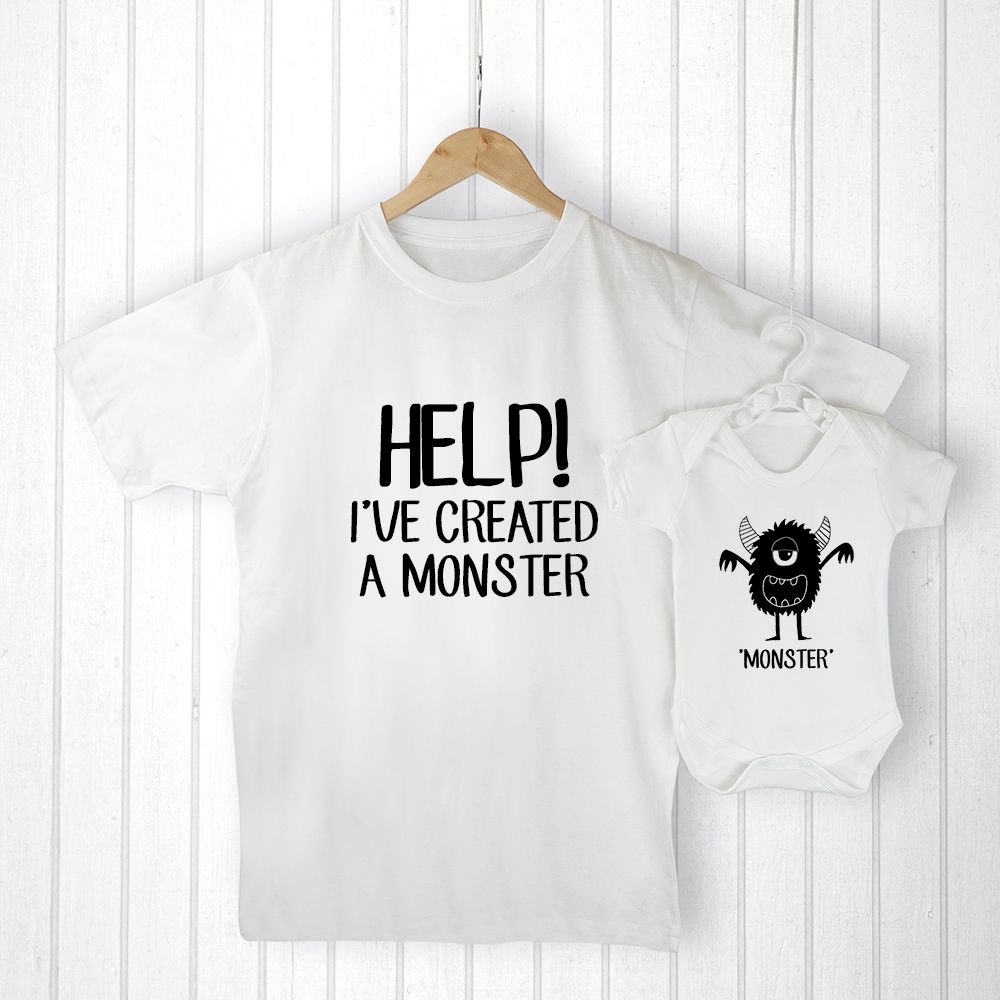 Personalised Daddy And Me LITTLE MONSTER T Shirt Babygrow Gift Fathers Day