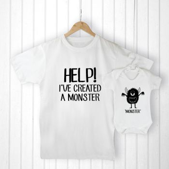 Personalised Daddy and Me LITTLE MONSTER T-Shirt & Babygrow Set