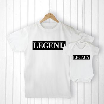 Personalised Daddy and Me LEGENDARY T-Shirt & Babygrow Set