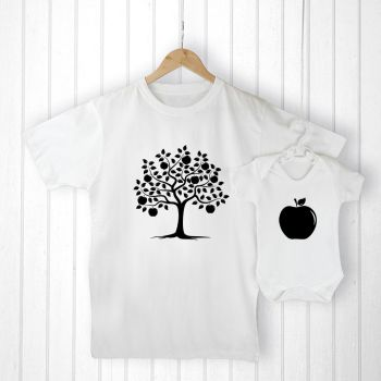 Personalised Daddy and Me APPLE T-Shirt & Babygrow Set